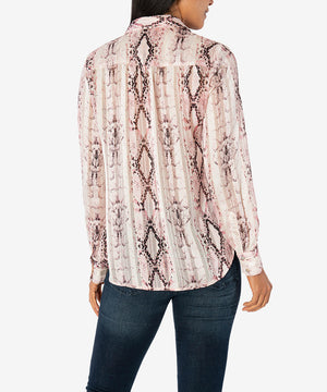 Sam Button Down Blouse (Cream/Rose)-New-Kut from the Kloth