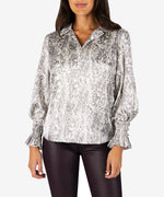 Mullen Collar Blouse (Grey/Ivory) Main Image