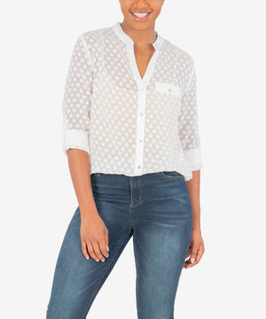 Lucero Button Up Blouse (White)-New-Kut from the Kloth