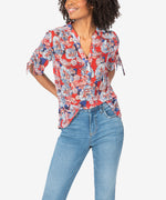 May Floral Tie Sleeve Top Main Image