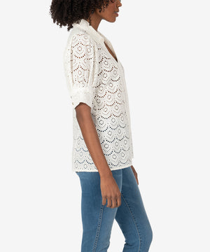 Giralda Puff Sleeve Cotton Eyelet Top (White)