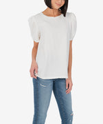 Fia Puff Twist Sleeve Blouse (White) Hover Image