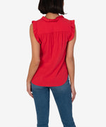 Kennedy Sleeveless Ruffle Blouse (Red) Hover Image