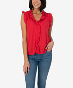 Kennedy Sleeveless Ruffle Blouse (Red) Main Image