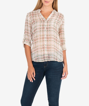 Jasmine Blouse (Sketchy Plaid)-New-Kut from the Kloth