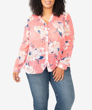Jasmine Blouse, Plus-New-XL-Gilted Posies-Strawberry-Kut from the Kloth