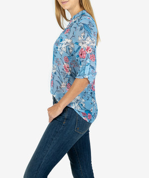 Jasmine Printed Top (Cannes Blue Heaven)- Kut From the Kloth
