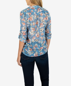 Jasmine Printed Top (Ferrara Blue Heaven)- Kut From the Kloth