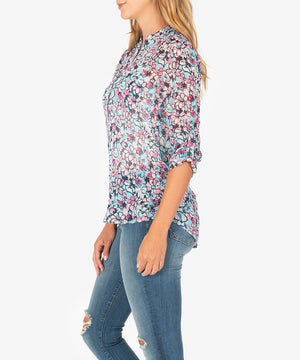 Jasmine Printed Top (Light Blue)-New-Kut from the Kloth