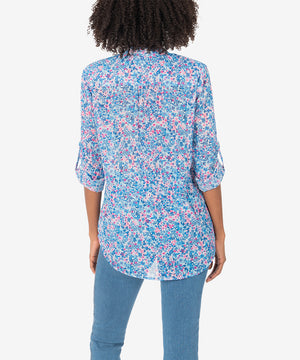 Jasmine Printed Top (Potenza Dusty Blue)-New]-Kut from the Kloth
