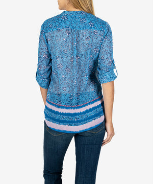 Jasmine Printed Top (Torre Border Blue  Heaven)- Kut From the Kloth