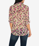 Jasmine Printed Top (Ivory/Berry) Hover Image