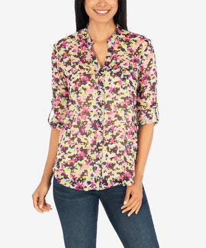 Jasmine Printed Top (Ivory/Berry)-New-Kut from the Kloth