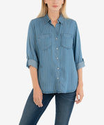 Hannah Stripe Button Down Top Main Image