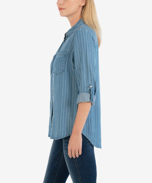 Hannah Stripe Button Down Top-New-Kut from the Kloth