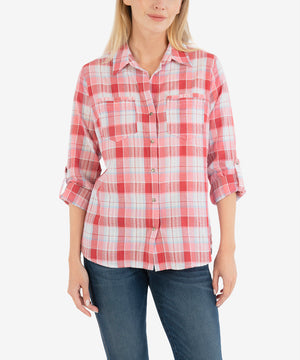 Belle Plaid Button Down Top-New-Kut from the Kloth