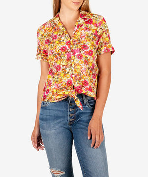 Penelope Tie Front Collar Blouse-New-X SMALL-Natural-Kut from the Kloth