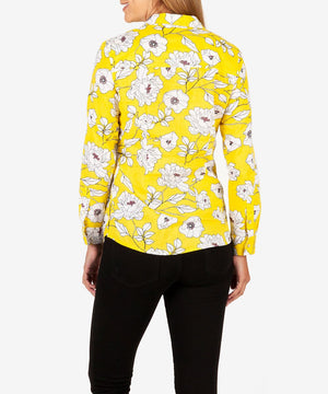 Kendra Button Down Shirt (Lemon)-New-Kut from the Kloth