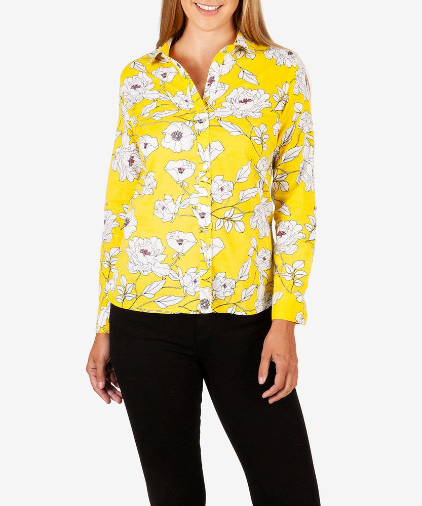 Kendra Button Down Shirt (Lemon)-Kut from the Kloth