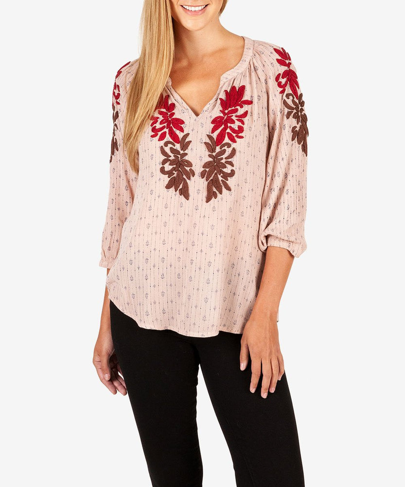 Misato Embroidery Peasant Blouse