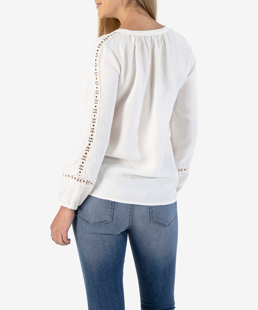 Abbigail Peasant Blouse, Exclusive (Off White)-Kut from the Kloth