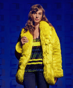 Jina Faux Fur Coat, Exclusive (Chartreuse) Hover Image