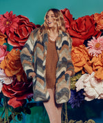 Eileana Chevron Faux Fur Coat, Exclusive Main Image