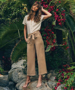 Rhianna Belted Wide Leg Pant (Khaki) Hover Image