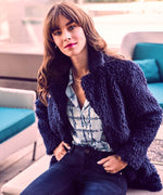 Eileana Faux Fur Jacket (Navy) Main Image