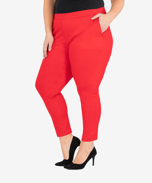 Straight Leg Trouser, Plus (Crimson Red)-New-Kut from the Kloth