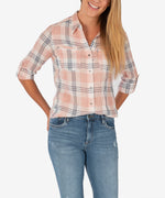 Belle Button Down Plaid Top (Blush/White) Main Image