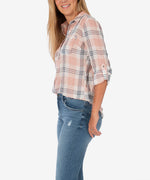 Belle Button Down Plaid Top (Blush/White) Hover Image