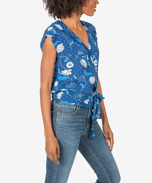 Leighton Wrap Top (Navy)-New]-Kut from the Kloth