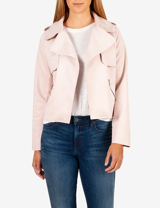 Jacee Faux Suede Moto Jacket-Kut from the Kloth