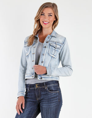 Amelia Denim Jacket (Sweet Wash)-Jackets-Large-Sweet W/New Vintage Base Wash-Kut from the Kloth