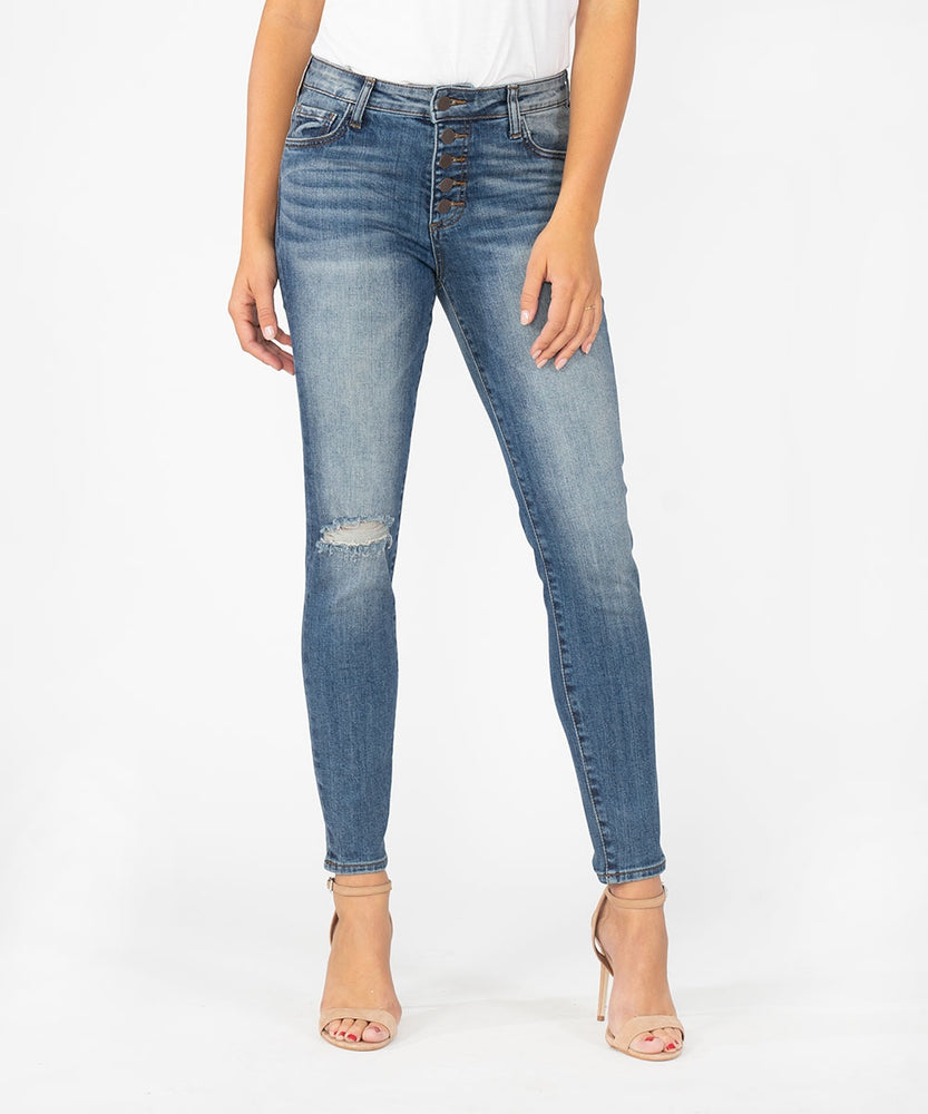 Donna High Rise Slim Fit Ankle Skinny (Interested Wash)