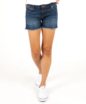 Gidget Fray Short (Stimulating Wash)-Denim-0-Stimulating W/Dk Stone Base Wash-Kut from the Kloth
