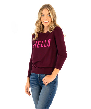 Lovely- Pull Over Knit Sweater With Hello Letters-Kut from the Kloth