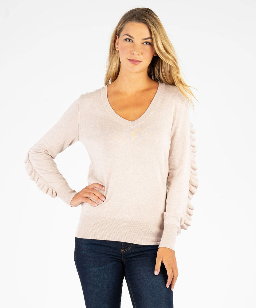 Marlee Sweater With Ruffle Sleeves
