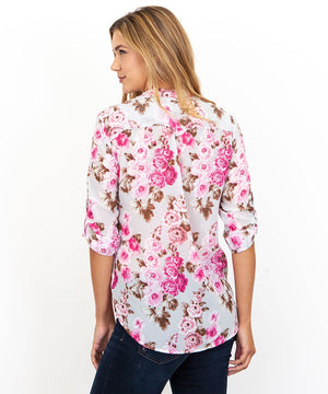 Jasmine-Collar Stand Printed Crepe Blouse-Kut from the Kloth