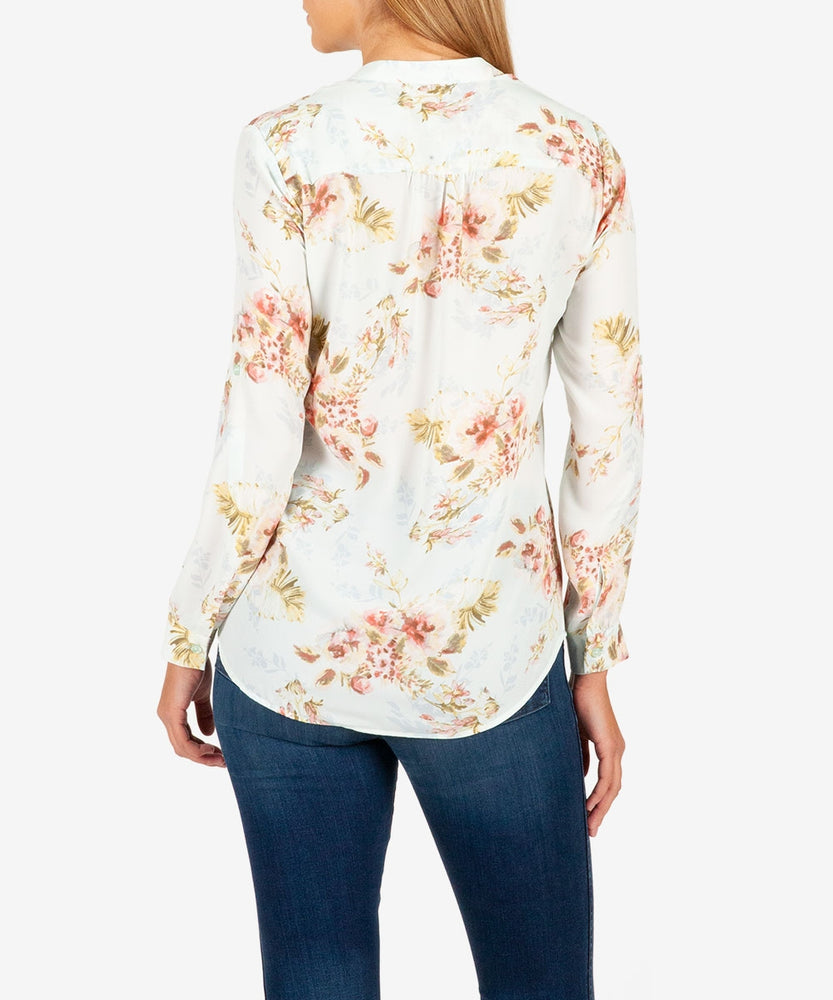 Jasmine Printed Crepe Blouse-Kut from the Kloth