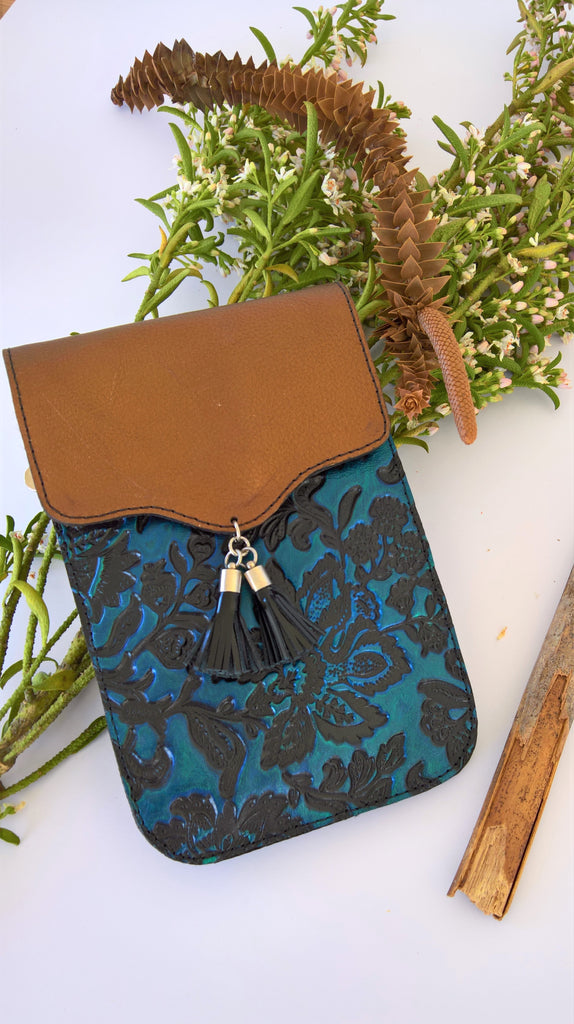 Azure Shoulder Bag- Blue/Copper