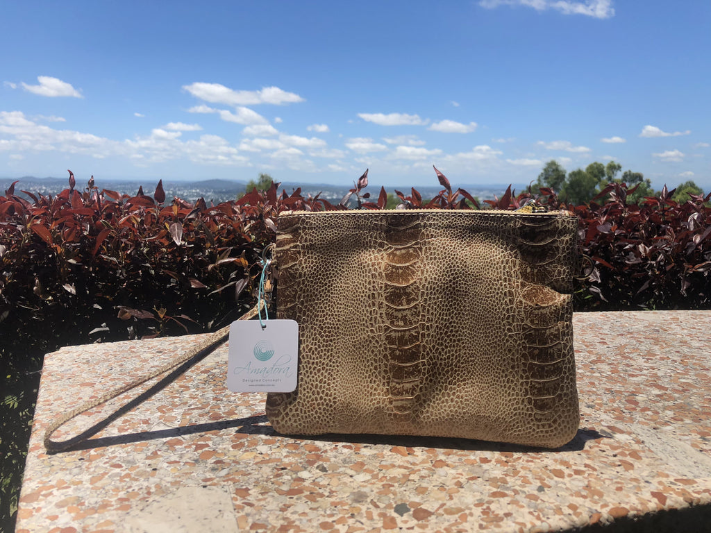 Wristlet Bag- Rough leather both sides