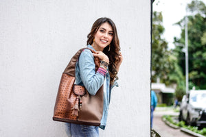 Mochila-Style Genuine Leather Handbag