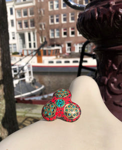 Deutch Vintage Coral on Brass Ring