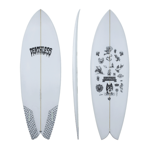 Deathless 'Butt Jaw' Black or White Twin fin 5'3-5'11