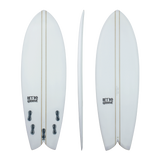 Retro Groove 'Moon Slap' Shortboard - White 5'0-6'0
