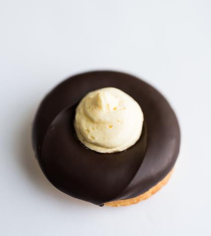 chocolate donut with cream cheese