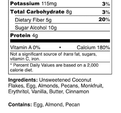 Nutrition Facts Cinnamon Granola