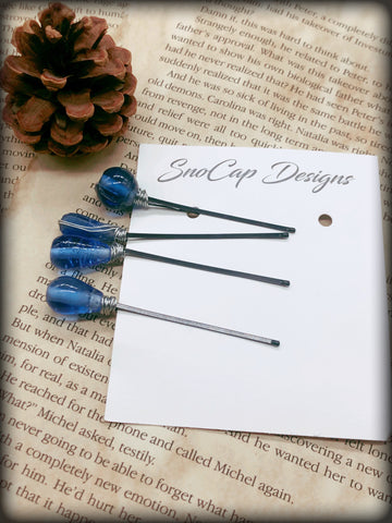 Blue Beaded Bobby-Pins